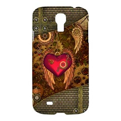 Steampunk Golden Design, Heart With Wings, Clocks And Gears Samsung Galaxy S4 I9500/i9505 Hardshell Case