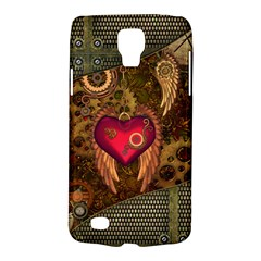 Steampunk Golden Design, Heart With Wings, Clocks And Gears Galaxy S4 Active by FantasyWorld7