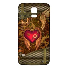 Steampunk Golden Design, Heart With Wings, Clocks And Gears Samsung Galaxy S5 Back Case (white) by FantasyWorld7