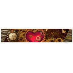 Steampunk Golden Design, Heart With Wings, Clocks And Gears Flano Scarf (large) by FantasyWorld7