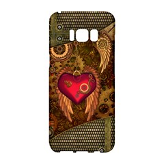 Steampunk Golden Design, Heart With Wings, Clocks And Gears Samsung Galaxy S8 Hardshell Case  by FantasyWorld7