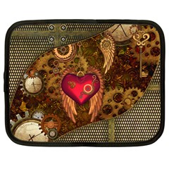 Steampunk Golden Design, Heart With Wings, Clocks And Gears Netbook Case (large) by FantasyWorld7