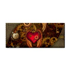 Steampunk Golden Design, Heart With Wings, Clocks And Gears Cosmetic Storage Cases by FantasyWorld7