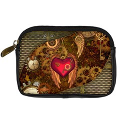 Steampunk Golden Design, Heart With Wings, Clocks And Gears Digital Camera Cases by FantasyWorld7