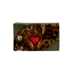 Steampunk Golden Design, Heart With Wings, Clocks And Gears Cosmetic Bag (small)  by FantasyWorld7