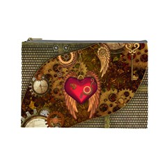 Steampunk Golden Design, Heart With Wings, Clocks And Gears Cosmetic Bag (large)  by FantasyWorld7