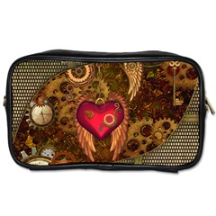 Steampunk Golden Design, Heart With Wings, Clocks And Gears Toiletries Bags 2 Side by FantasyWorld7