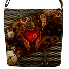 Steampunk Golden Design, Heart With Wings, Clocks And Gears Flap Messenger Bag (s) by FantasyWorld7