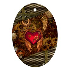 Steampunk Golden Design, Heart With Wings, Clocks And Gears Ornament (oval) by FantasyWorld7