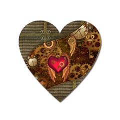 Steampunk Golden Design, Heart With Wings, Clocks And Gears Heart Magnet by FantasyWorld7