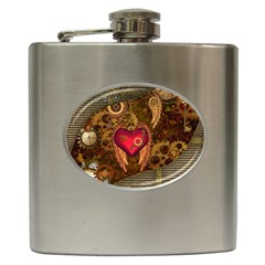 Steampunk Golden Design, Heart With Wings, Clocks And Gears Hip Flask (6 Oz) by FantasyWorld7