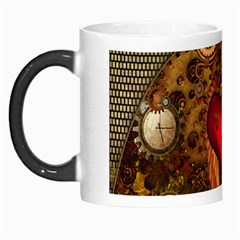 Steampunk Golden Design, Heart With Wings, Clocks And Gears Morph Mugs by FantasyWorld7