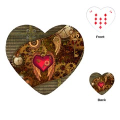 Steampunk Golden Design, Heart With Wings, Clocks And Gears Playing Cards (heart)  by FantasyWorld7