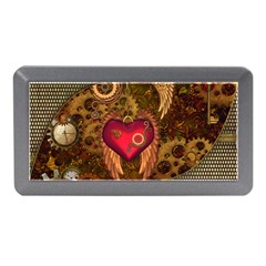 Steampunk Golden Design, Heart With Wings, Clocks And Gears Memory Card Reader (mini) by FantasyWorld7
