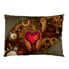 Steampunk Golden Design, Heart With Wings, Clocks And Gears Pillow Case (two Sides) by FantasyWorld7