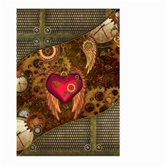 Steampunk Golden Design, Heart With Wings, Clocks And Gears Large Garden Flag (two Sides) by FantasyWorld7