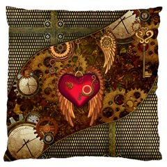 Steampunk Golden Design, Heart With Wings, Clocks And Gears Large Cushion Case (one Side) by FantasyWorld7