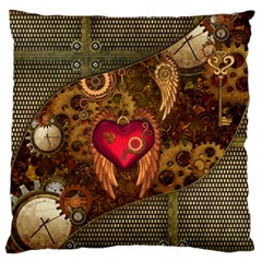 Steampunk Golden Design, Heart With Wings, Clocks And Gears Standard Flano Cushion Case (one Side) by FantasyWorld7