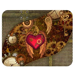 Steampunk Golden Design, Heart With Wings, Clocks And Gears Double Sided Flano Blanket (medium)  by FantasyWorld7