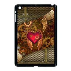 Steampunk Golden Design, Heart With Wings, Clocks And Gears Apple Ipad Mini Case (black) by FantasyWorld7