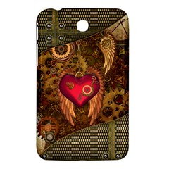 Steampunk Golden Design, Heart With Wings, Clocks And Gears Samsung Galaxy Tab 3 (7 ) P3200 Hardshell Case  by FantasyWorld7