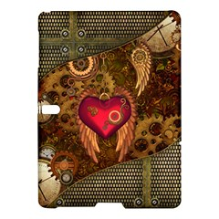 Steampunk Golden Design, Heart With Wings, Clocks And Gears Samsung Galaxy Tab S (10 5 ) Hardshell Case  by FantasyWorld7