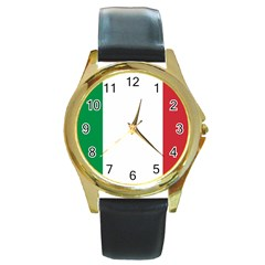 National Flag Of Italy  Round Gold Metal Watch by abbeyz71