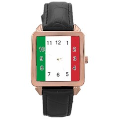 National Flag Of Italy  Rose Gold Leather Watch  by abbeyz71