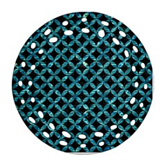 Circles3 Black Marble & Blue Green Water Round Filigree Ornament (two Sides) by trendistuff
