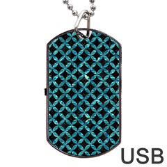 Circles3 Black Marble & Blue Green Water Dog Tag Usb Flash (two Sides) by trendistuff