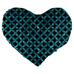Circles3 Black Marble & Blue Green Water Large 19  Premium Heart Shape Cushion by trendistuff