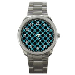Circles2 Black Marble & Blue Green Water (r) Sport Metal Watch by trendistuff