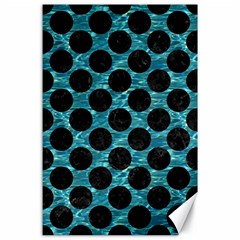 Circles2 Black Marble & Blue Green Water (r) Canvas 24  X 36  by trendistuff