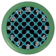 Circles2 Black Marble & Blue Green Water (r) Color Wall Clock by trendistuff