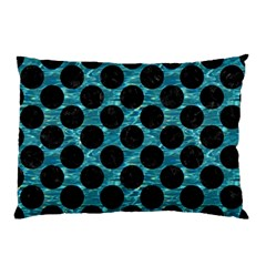 Circles2 Black Marble & Blue Green Water (r) Pillow Case by trendistuff