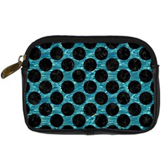 Circles2 Black Marble & Blue Green Water (r) Digital Camera Leather Case by trendistuff