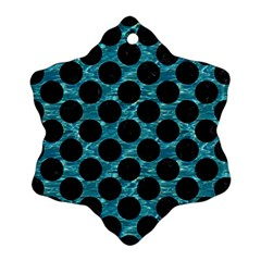Circles2 Black Marble & Blue Green Water (r) Snowflake Ornament (two Sides) by trendistuff
