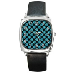 Circles2 Black Marble & Blue Green Water Square Metal Watch by trendistuff