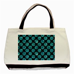 Circles2 Black Marble & Blue Green Water Basic Tote Bag by trendistuff
