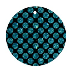 Circles2 Black Marble & Blue Green Water Round Ornament (two Sides) by trendistuff