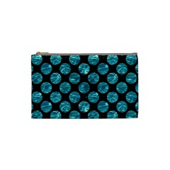 Circles2 Black Marble & Blue Green Water Cosmetic Bag (small) by trendistuff