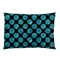 Circles2 Black Marble & Blue Green Water Pillow Case (two Sides) by trendistuff