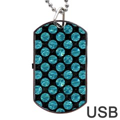Circles2 Black Marble & Blue Green Water Dog Tag Usb Flash (two Sides) by trendistuff