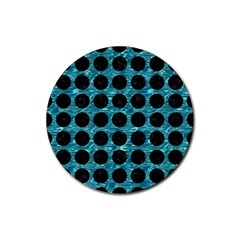 Circles1 Black Marble & Blue Green Water (r) Rubber Round Coaster (4 Pack) by trendistuff