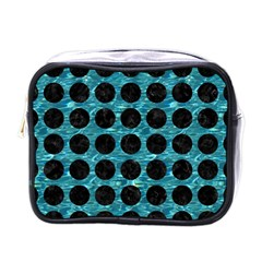 Circles1 Black Marble & Blue Green Water (r) Mini Toiletries Bag (one Side) by trendistuff