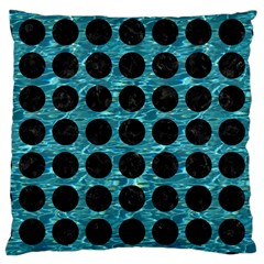 Circles1 Black Marble & Blue Green Water (r) Large Cushion Case (one Side) by trendistuff
