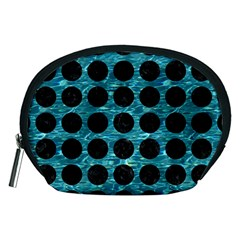 Circles1 Black Marble & Blue Green Water (r) Accessory Pouch (medium) by trendistuff