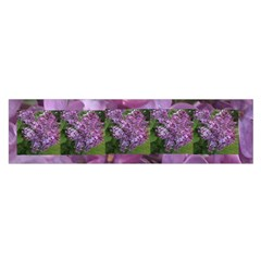 Shrub With Purple Flowers Satin Scarf (oblong) by SusanFranzblau