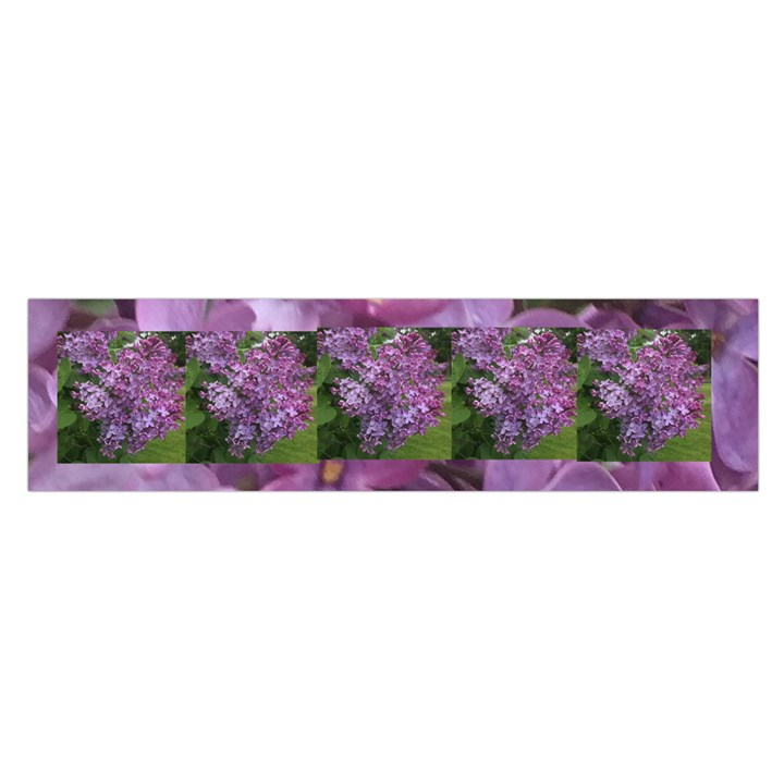 Shrub with Purple Flowers Satin Scarf (Oblong)