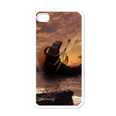 Steampunk Fractalscape, A Ship For All Destinations Apple Iphone 4 Case (white) by jayaprime